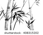japanese sumi e bamboo | Shutterstock . vector #408315202