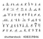cool sports icons set. hatching ... | Shutterstock . vector #408319846
