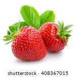 Two Strawberries Close Up On...