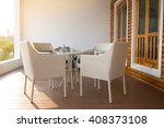 white dining table set in... | Shutterstock . vector #408373108