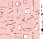 sketches on cosmetics on a... | Shutterstock .eps vector #408375112