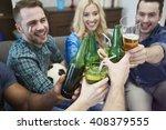 great fun while watching match... | Shutterstock . vector #408379555