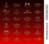 royal icons set isolated on red ... | Shutterstock .eps vector #408388582