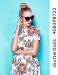 beautiful young blonde woman in ... | Shutterstock . vector #408398722