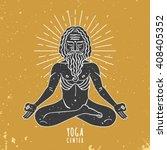Indian Yogi Figure With Linear...
