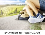 blue shoes woman and slim legs  | Shutterstock . vector #408406705