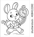 running white rabbit with... | Shutterstock .eps vector #408412282