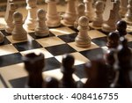 chess black and white pieces on ... | Shutterstock . vector #408416755