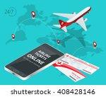 airline tickets online buying... | Shutterstock .eps vector #408428146