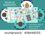 medical team doctors at desktop.... | Shutterstock .eps vector #408448555
