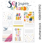 set of cute hand drawn cards... | Shutterstock .eps vector #408459592