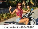 portrait of smiling girl on... | Shutterstock . vector #408460186