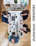 top view  meeting for the... | Shutterstock . vector #408465082