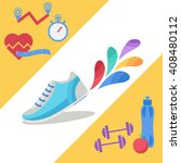 vector fitness icons in flat... | Shutterstock .eps vector #408480112