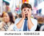 crazy businessman sad expression | Shutterstock . vector #408485218