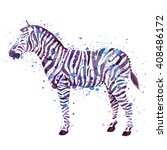 watercolor zebra illustration... | Shutterstock . vector #408486172