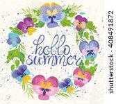 summer vector card. hello... | Shutterstock .eps vector #408491872