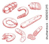 smoked meat sausages sketches... | Shutterstock .eps vector #408505195