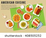 american cuisine menu with... | Shutterstock .eps vector #408505252
