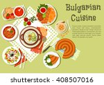 bulgarian dishes with kebabs... | Shutterstock .eps vector #408507016