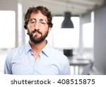 crazy hippie angry expression | Shutterstock . vector #408515875