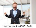 blond businessman happy... | Shutterstock . vector #408518686