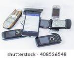 smartphone vs old mobile phones | Shutterstock . vector #408536548