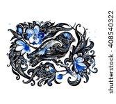 creative drawing bird on a... | Shutterstock . vector #408540322