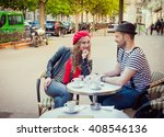 young beautiful stereotypical... | Shutterstock . vector #408546136