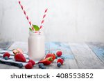 jar with drinking yogurt ... | Shutterstock . vector #408553852