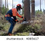 the woodcutter is cutting down... | Shutterstock . vector #4085617