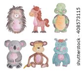 Stock photo animals baby set watercolor illustrations isolated on the white 408573115