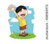 happy cartoon boy  colorful... | Shutterstock .eps vector #408583972