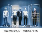 mens clothing in a retail store. | Shutterstock . vector #408587125