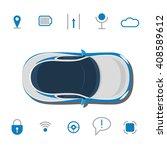 car technology sign. driverless ... | Shutterstock .eps vector #408589612
