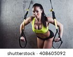 beautiful muscular woman doing... | Shutterstock . vector #408605092