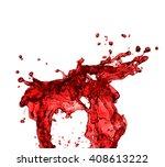 red juice splash closeup... | Shutterstock . vector #408613222