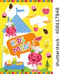 kids menu bitmap template ... | Shutterstock . vector #408617848