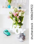 baby shower card     baby shoes ... | Shutterstock . vector #408624922
