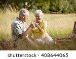 a senior couple having a picnic ... | Shutterstock . vector #408644065