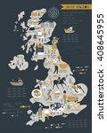 cartoon map of united kingdom...   Shutterstock .eps vector #408645955