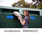 a teenage girl recycling... | Shutterstock . vector #408646225