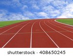 running track with blue cloudy... | Shutterstock . vector #408650245