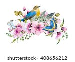 watercolor card cherry blossoms ... | Shutterstock . vector #408656212