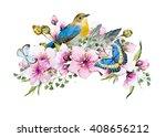 Watercolor Card Cherry Blossom...