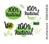100  natural green lettering... | Shutterstock .eps vector #408656836