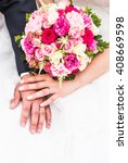 Hands Of Groom And  Bride With...