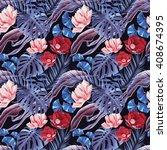 seamless tropical flower  plant ...   Shutterstock . vector #408674395