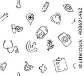seamless pattern medical icons...