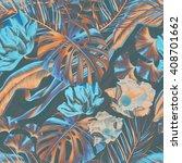 seamless tropical flower  plant ... | Shutterstock . vector #408701662